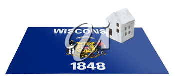 Small house on a flag - Living or migrating to Wisconsin