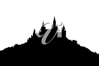 silhouette of a castle in the woods