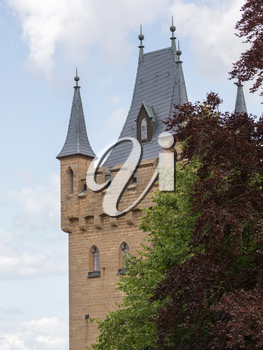 View of famous Hohenzollern Castle, ancestral seat of the imperial House of Hohenzollern and one of Europe's most visited castles, Baden-Wurttemberg, Germany