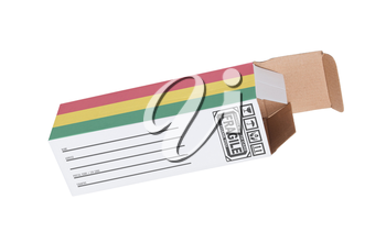 Concept of export, opened paper box - Product of Bolivia