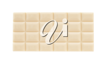 White chocolate bar, isolated on a white background