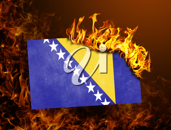 Flag burning - concept of war or crisis - Bosnia and Herzegovina