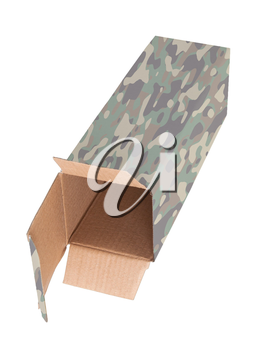 Camouflaged cardboard box on a white background