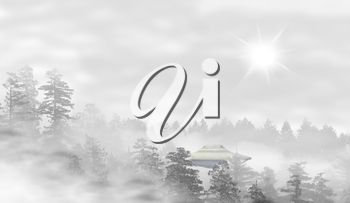 UFO in a landscape of misty forest at sunrise - concept of mystery