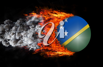 Concept of speed - Flag with a trail of fire and smoke - Solomon Islands