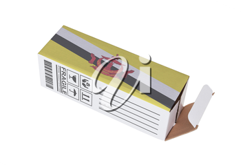 Concept of export, opened paper box - Product of Brunei