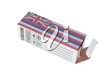 Concept of export, opened paper box - Product of Hawaii