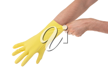Hand in yellow glove - isolated on white background