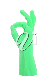 Hand gesturing with green cleaning product glove - isolated on white