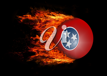 Concept of speed - US state flag with a trail of fire - Tennessee