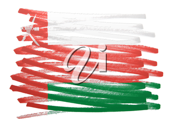 Flag illustration made with pen - Oman