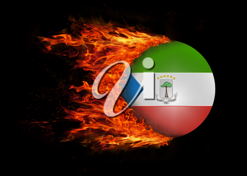 Concept of speed - Flag with a trail of fire - Equatorial Guinea