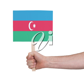Hand holding small card, isolated on white - Flag of Azerbaijan