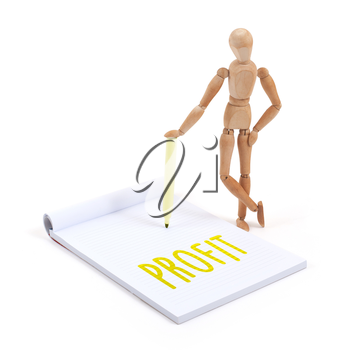 Wooden mannequin writing in a scrapbook - Profit
