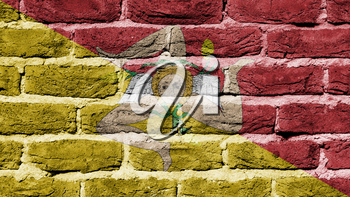 Very old dark red brick wall texture, flag of Sicily