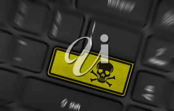 Symbol on button keyboard, warning (yellow) - toxic