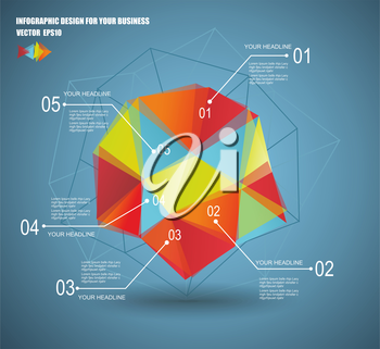 3D vector illustration of geometry infographics