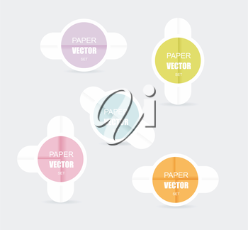 Vector:special offer colorful stickers set with folded paper