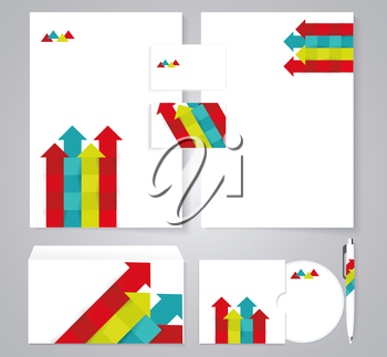 Corporate identity template with color arrows. Documentation for business.