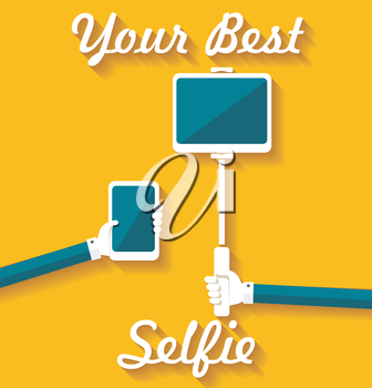 Taking Selfie Photo on Smart Phone, hand hold monopod with tablet pc, concept icon.