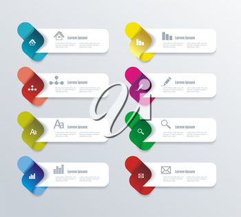 Vector options / progress banners with colorful tags.