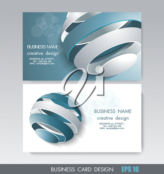 Business card design with fragmented ball composition, vector illustration.