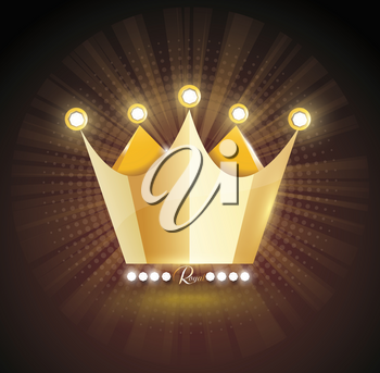 3D Gold crown icon isolated ondark transparent background. Vector illustration. Eps 10.