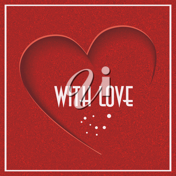 Abstract background with red heart. Can be used for Valentine's day design or wedding invitation card. Vector.