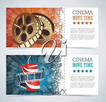 Cinema tickets with popcorn bowl and film strip , realistic detailed vector illustration.