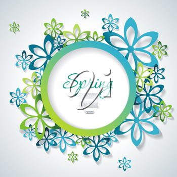 Spring or Summer design with a textured abstract background and text in circle floral frame, vector illustration.