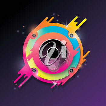 Music vector background with bright color audio speaker.