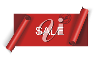 Cut red SALE banner, vector.