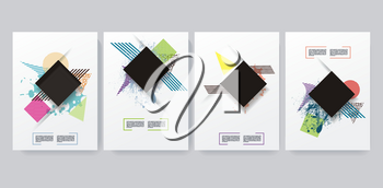 Vector design templates for a4 covers, banners, flyers and posters with abstract shapes, 80s memphis geometric flat style.