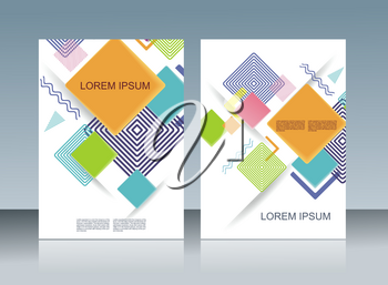 Vector design of business brochure, magazine, flyer template with geometric background.