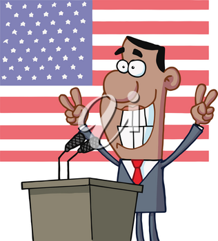 Clipart Illustration of Cartoon Clipart of Barak Obama at a Podium With the American Flag