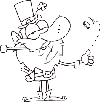 Clipart Illustration of A Black and White Irish Man Flipping a Coin