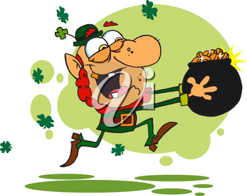 Clipart Illustration of An Irish Man Carrying a Pot of Gold