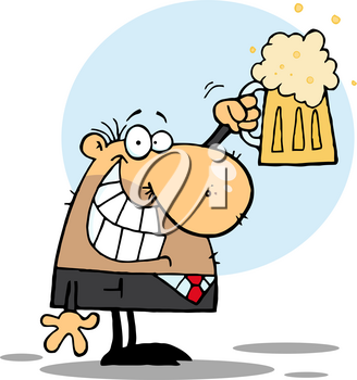 Clipart Illustration of A Grinning Man With a Pint of Beer