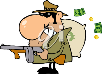 Clipart Illustration of A Thief With a Bag of Money and a Machine Gun