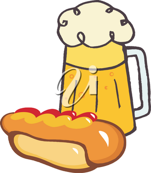 Clipart Image of A Pint of Beer and a Hot Dog
