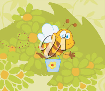 Clipart Image of A Happy Honey Bee Carrying a Bucket of Honey While Flying Over Flowers