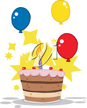 Clipart Image of Colorful Balloons Near a Birthday Cake
