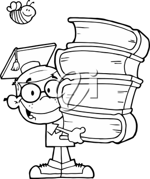 Clipart Image of Black and White Boy With a Stack of Books and a Graduation Cap
