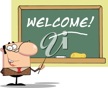 A Professor Welcoming His Students Clipart Image