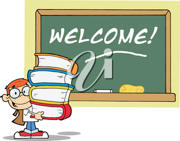 Clipart Image of A Student Carrying a Stack of Textbooks Near a Chalkboard