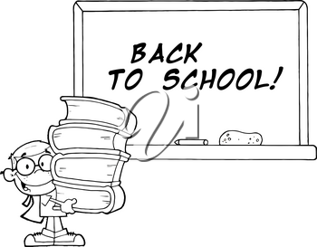 Clipart Image of A Child Carrying Texbooks In Front of a Chalkboard In Black and White