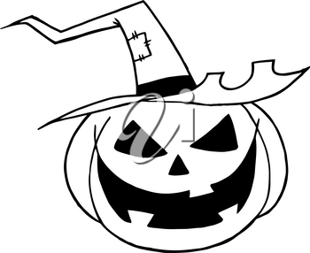 Clipart Image of Black and White Grinning Jack-o-lantern Wearing a Pointed Witch's Hat