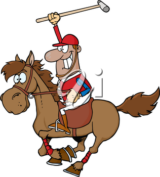 Clipart Image of A Man Playing Polo on the Back of a Horse