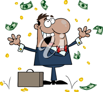Clipart Image of A Latino Businessman Cheering and Throwing Coins and Cash Into the Air