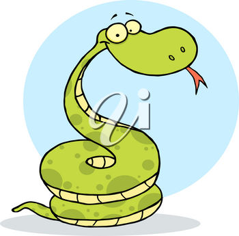 A Coiled Up Green Snake Clipart Image